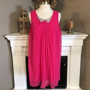 Ya Los Angeles Pink Jeweled Pleated Chiffon Dress